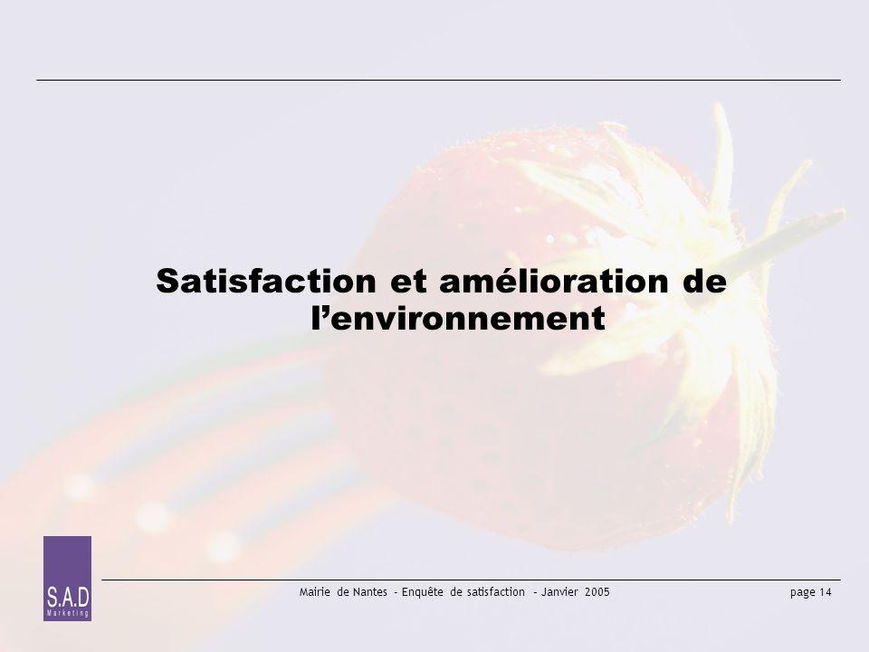 Satisfaction et amélioration de l'environnement