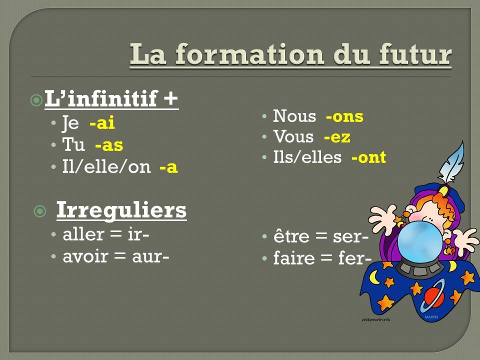 La formation du futur L'infinitif + Irreguliers Je -ai Tu -as