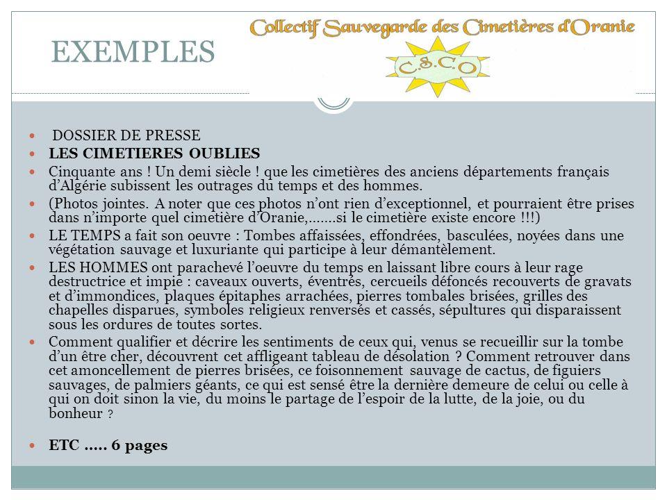 EXEMPLES DOSSIER DE PRESSE LES CIMETIERES OUBLIES
