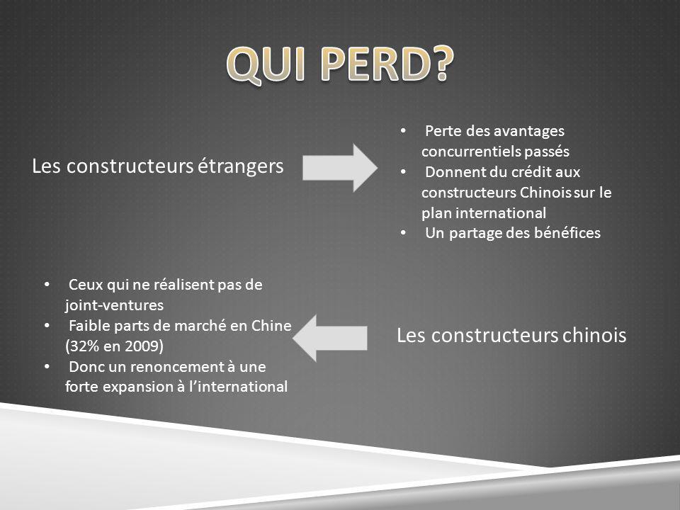 QUI PERD Les constructeurs étrangers Les constructeurs chinois