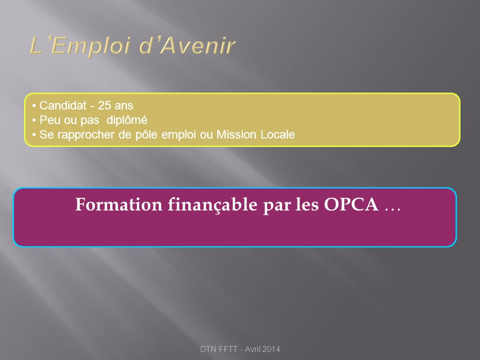 Formation finançable par les OPCA …