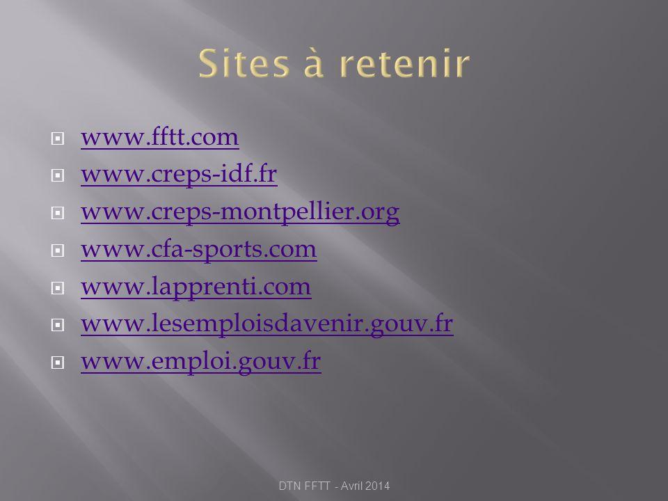 Sites à retenir www.fftt.com www.creps-idf.fr