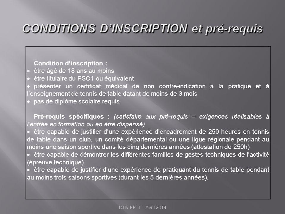 CONDITIONS D'INSCRIPTION et pré-requis