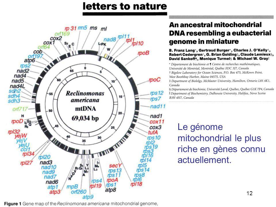 Le génome mitochondrial le plus riche en gènes connu actuellement.