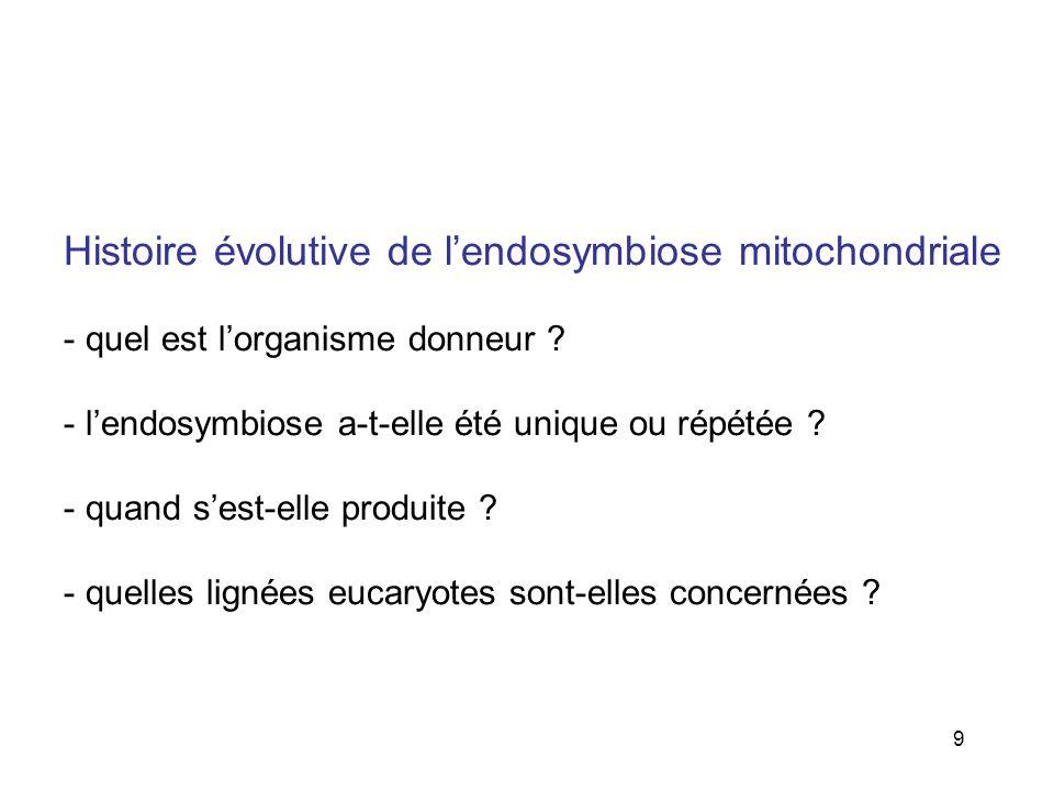 Histoire évolutive de l'endosymbiose mitochondriale