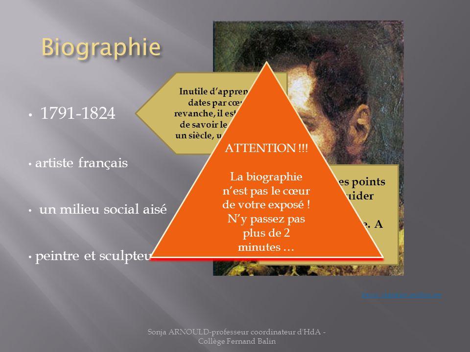 Biographie 1791-1824 artiste français un milieu social aisé