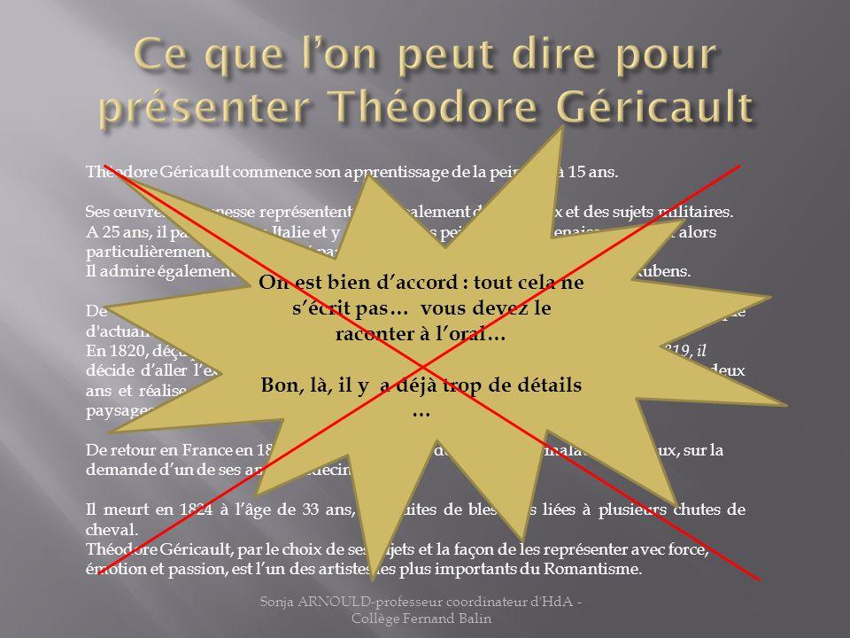 Ce que l'on peut dire pour présenter Théodore Géricault