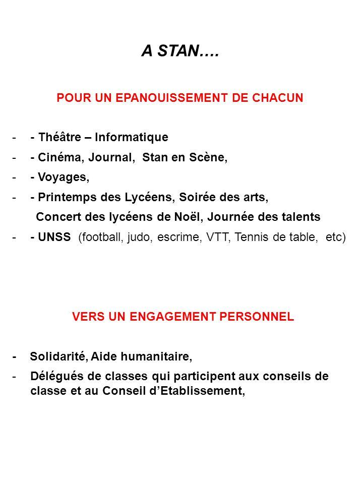 POUR UN EPANOUISSEMENT DE CHACUN VERS UN ENGAGEMENT PERSONNEL