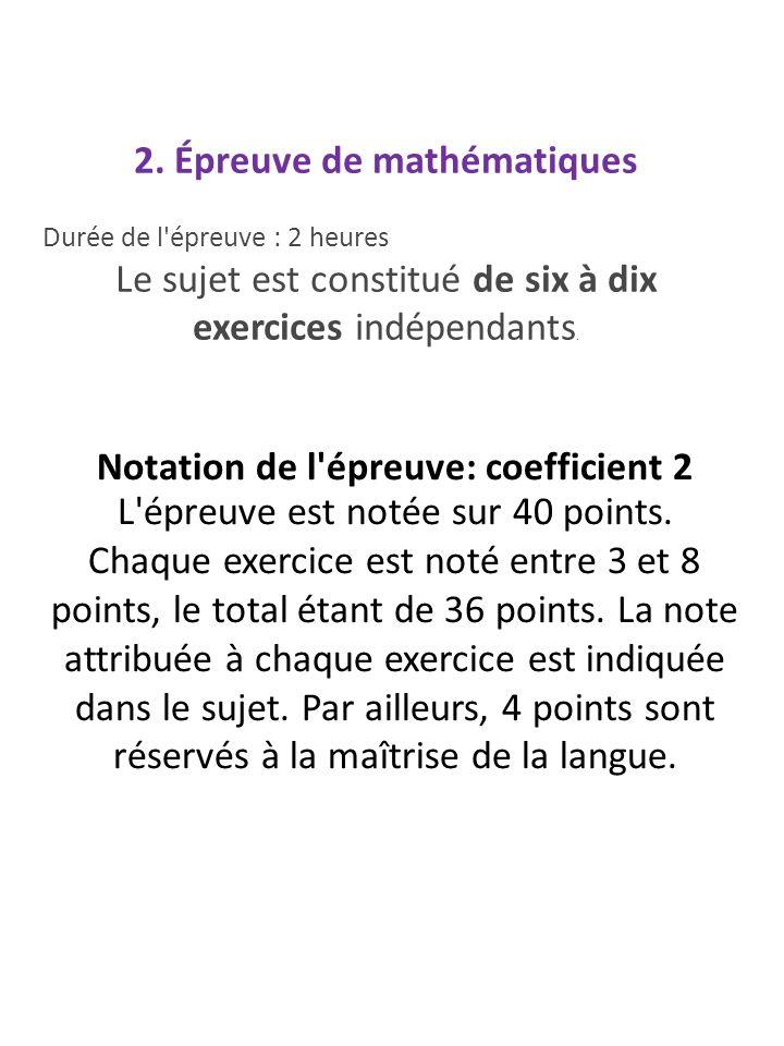 2. Épreuve de mathématiques