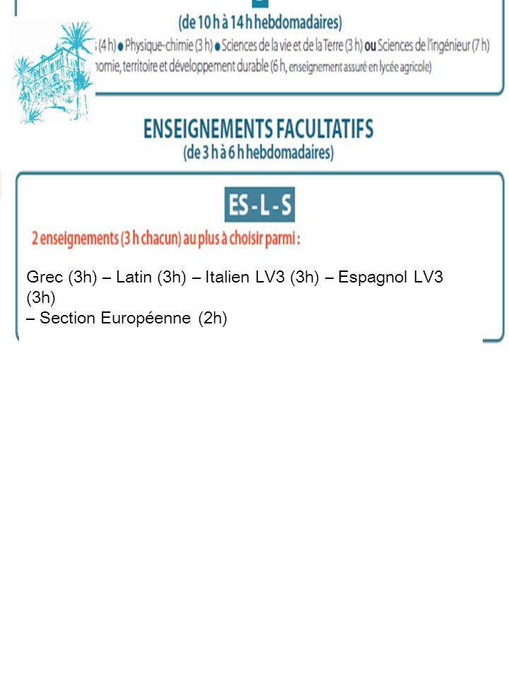 Grec (3h) – Latin (3h) – Italien LV3 (3h) – Espagnol LV3 (3h)