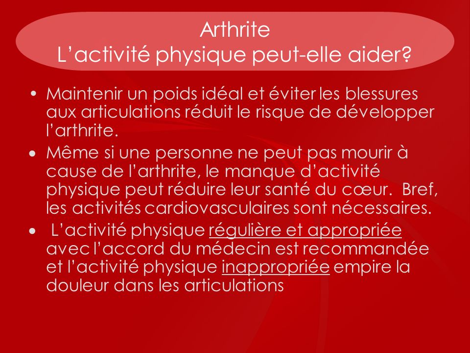 Arthrite L'activité physique peut-elle aider