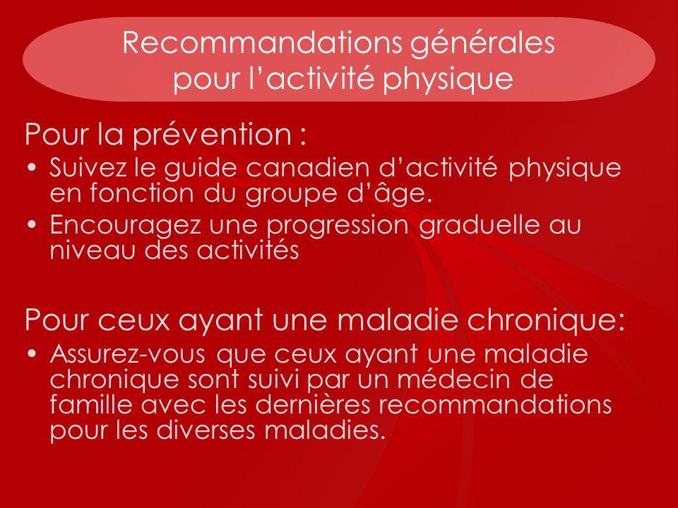Recommandations générales pour l'activité physique