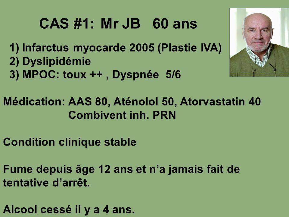 CAS #1: Mr JB 60 ans 1) Infarctus myocarde 2005 (Plastie IVA)