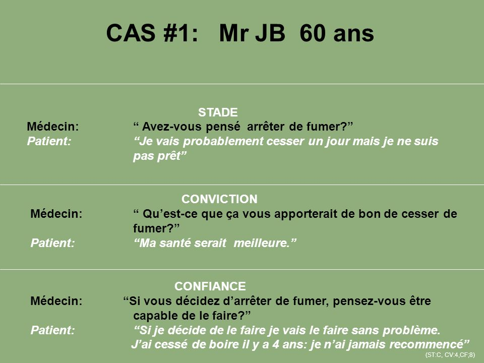 CAS #1: Mr JB 60 ans STADE. Médecin: Avez-vous pensé arrêter de fumer