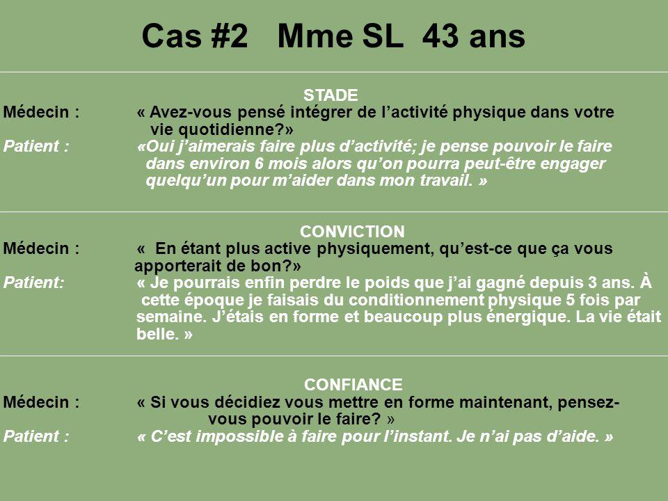 Cas #2 Mme SL 43 ans STADE. Médecin : « Avez-vous pensé intégrer de l'activité physique dans votre vie quotidienne »
