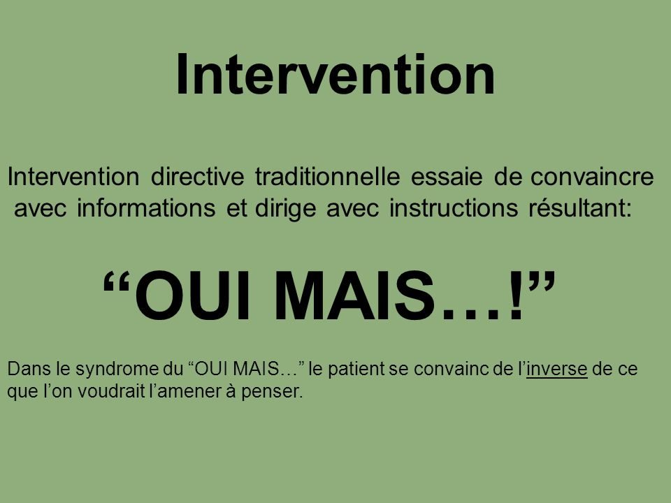 OUI MAIS…! Intervention