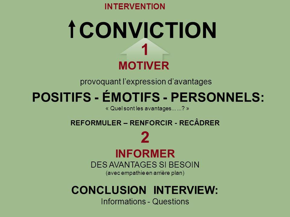 REFORMULER – RENFORCIR - RECÂDRER CONCLUSION INTERVIEW: