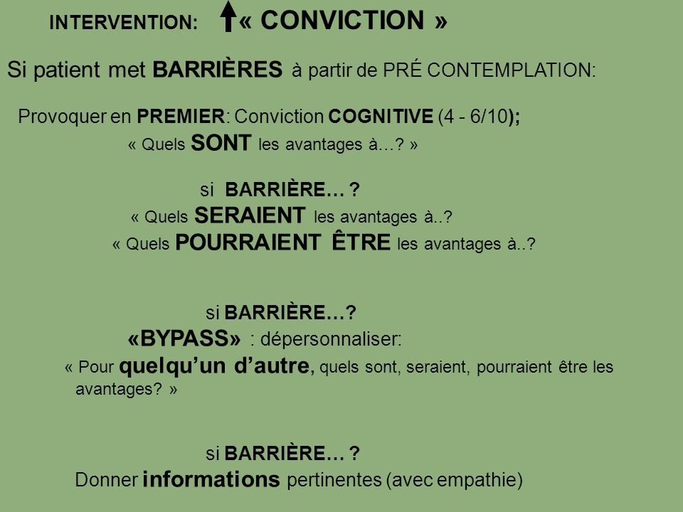 INTERVENTION: « CONVICTION »