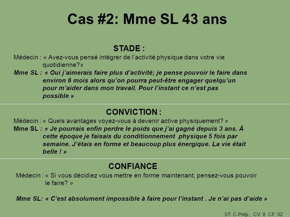 Cas #2: Mme SL 43 ans CONFIANCE STADE :