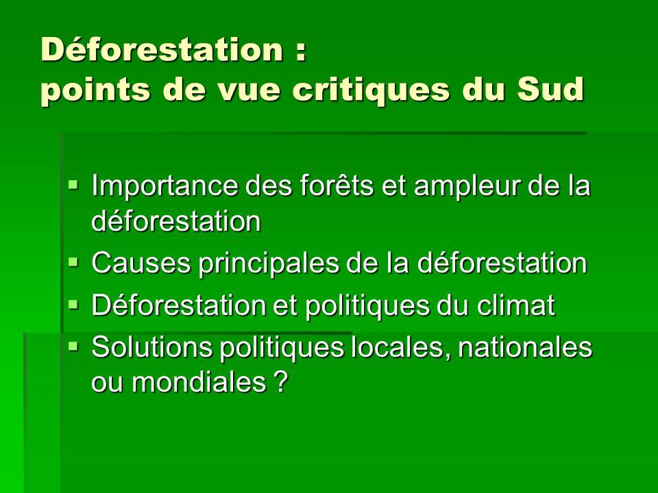 Déforestation : points de vue critiques du Sud