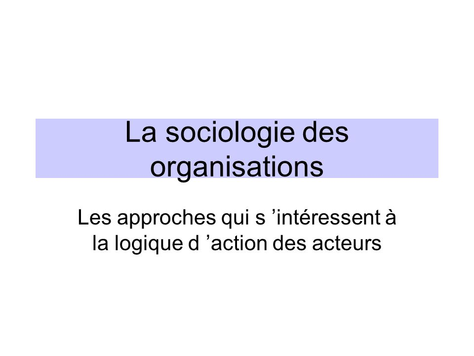 La sociologie des organisations