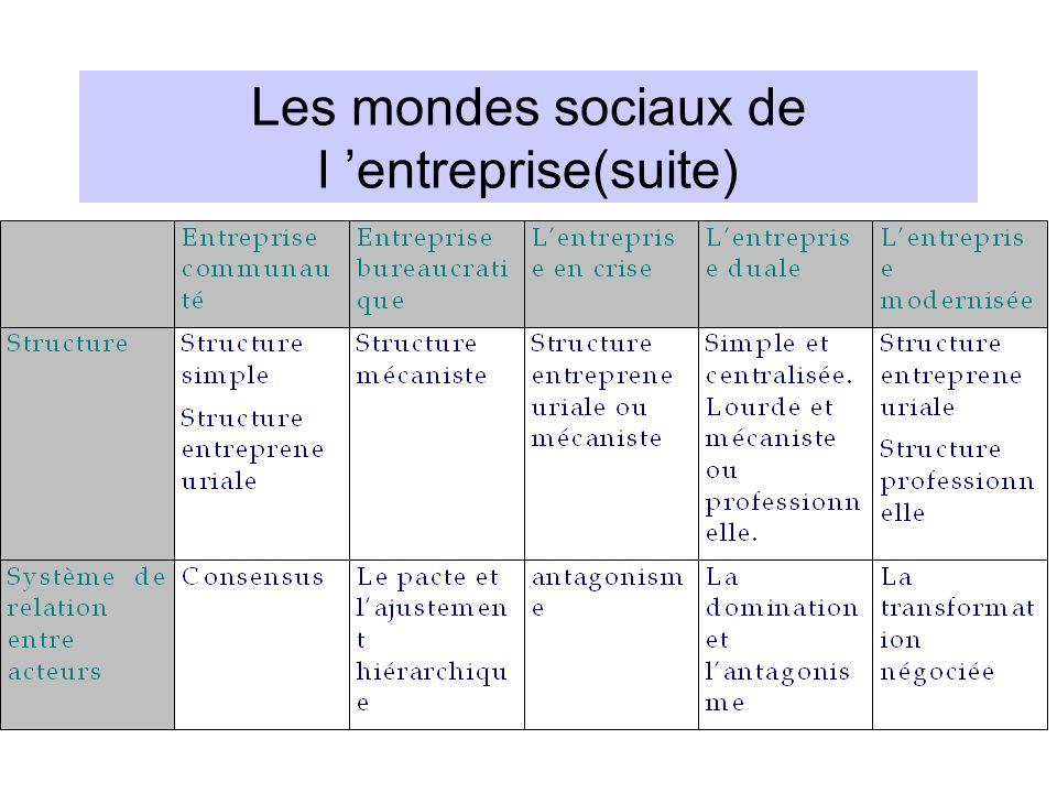 Les mondes sociaux de l 'entreprise(suite)