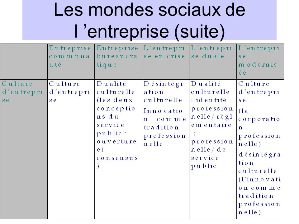 Les mondes sociaux de l 'entreprise (suite)