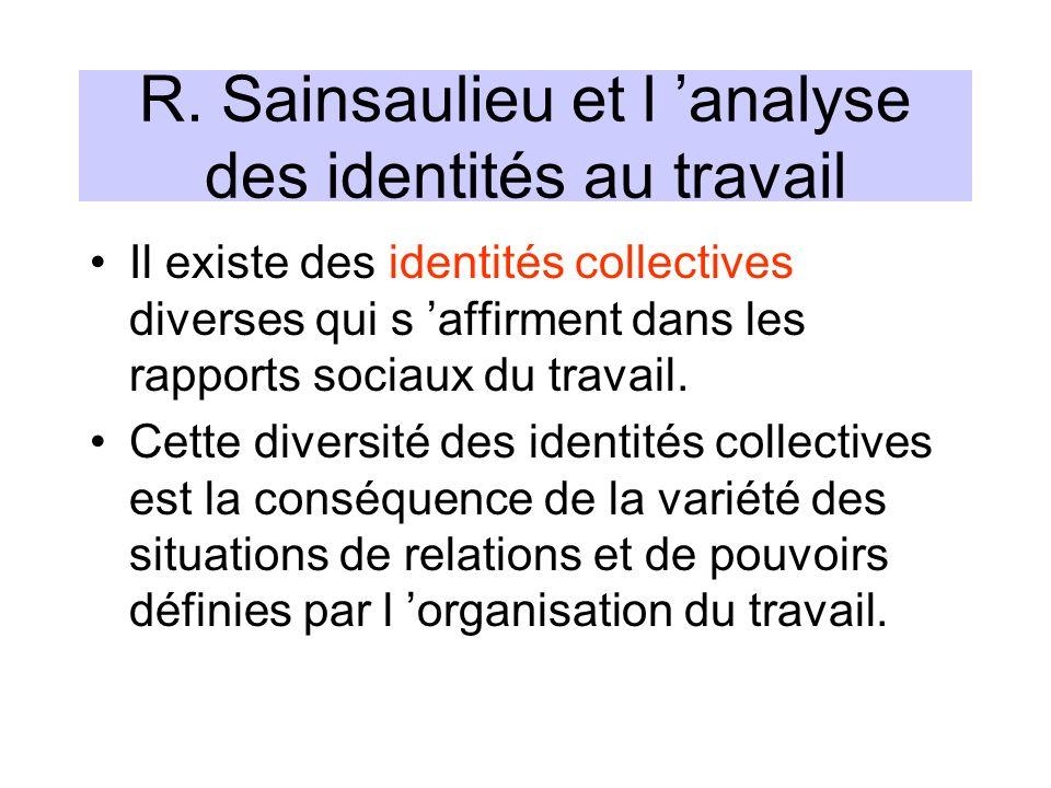 R. Sainsaulieu et l 'analyse des identités au travail