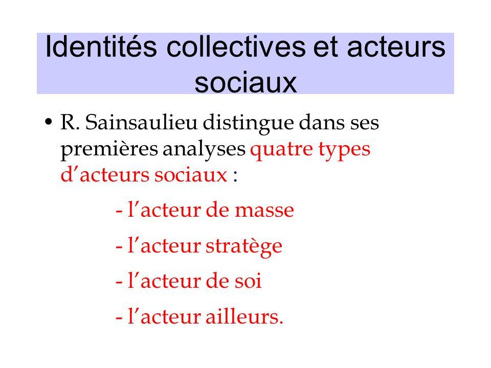 Identités collectives et acteurs sociaux