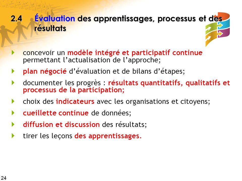 2.4 Évaluation des apprentissages, processus et des résultats