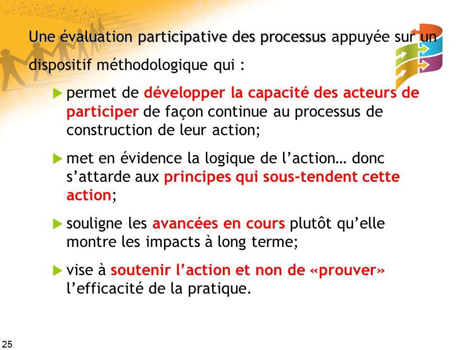Une évaluation participative des processus appuyée sur un