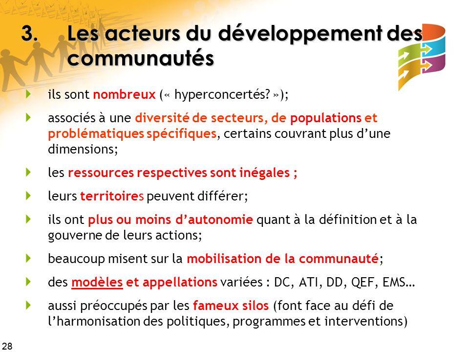 3. Les acteurs du développement des communautés
