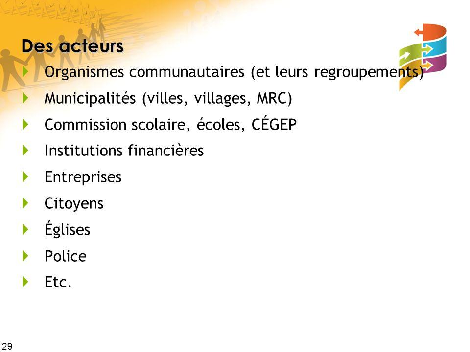 Des acteurs Organismes communautaires (et leurs regroupements)