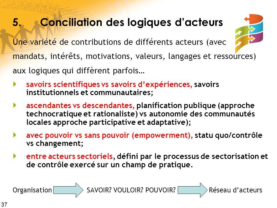 5. Conciliation des logiques d'acteurs