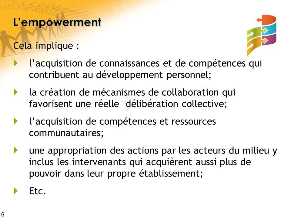 L'empowerment Cela implique :