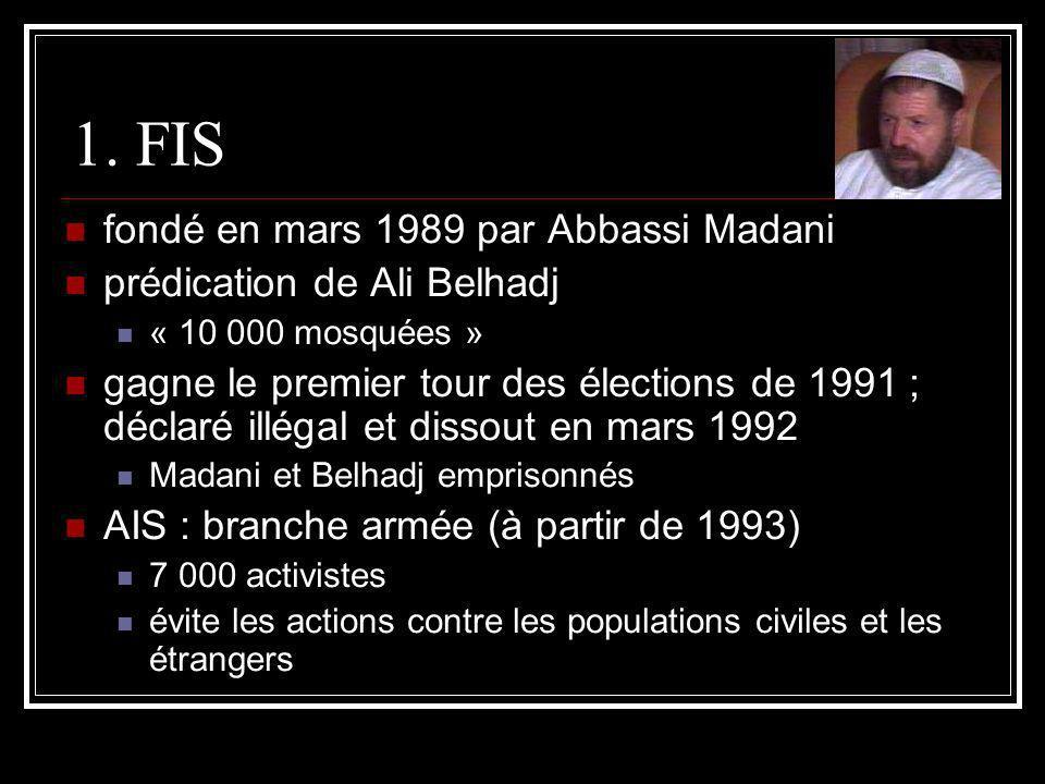 1. FIS fondé en mars 1989 par Abbassi Madani