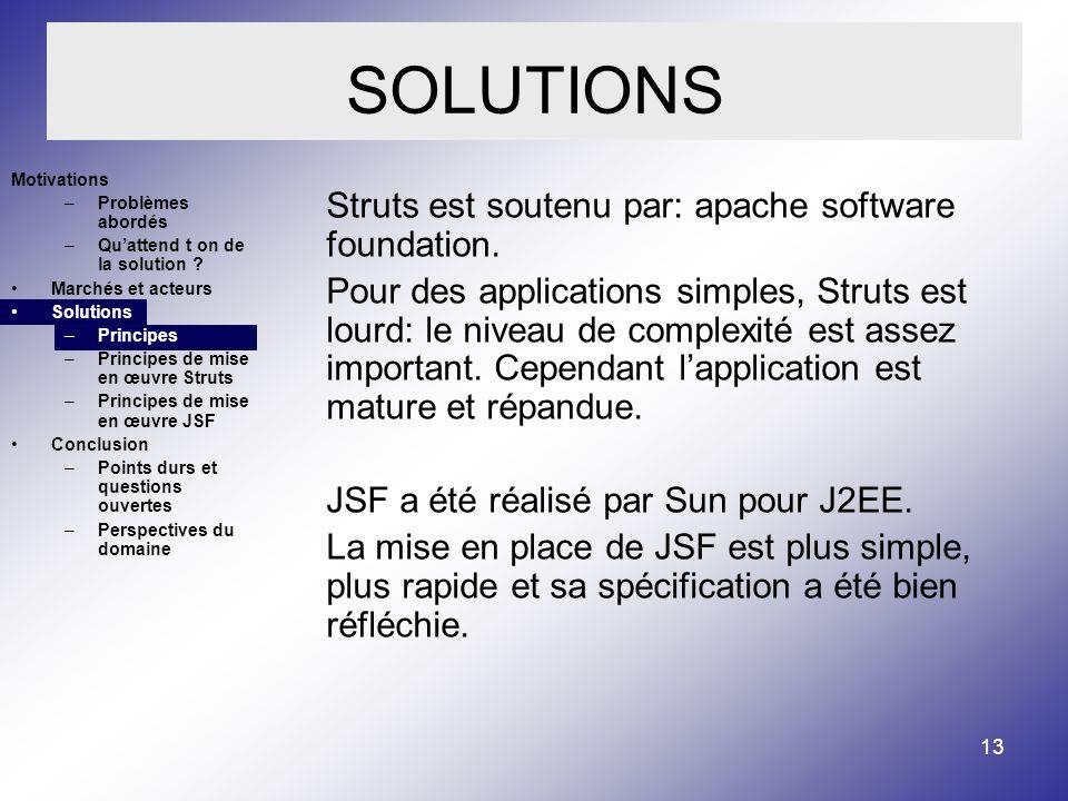 SOLUTIONS Struts est soutenu par: apache software foundation.