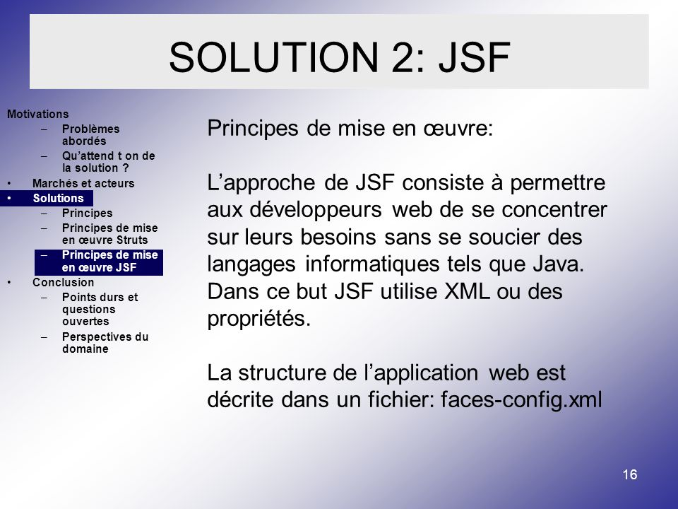 SOLUTION 2: JSF Principes de mise en œuvre: