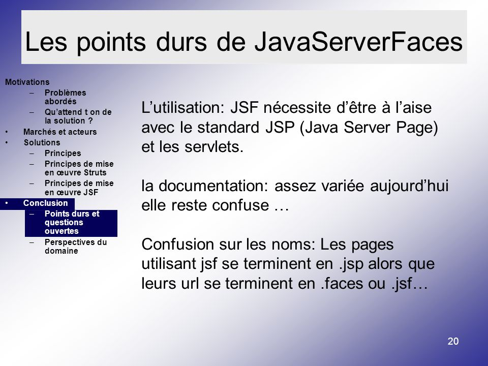 Les points durs de JavaServerFaces