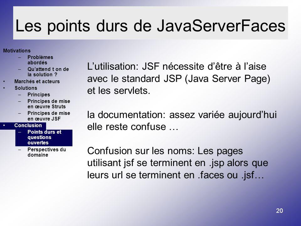 Les points durs de JavaServerFaces