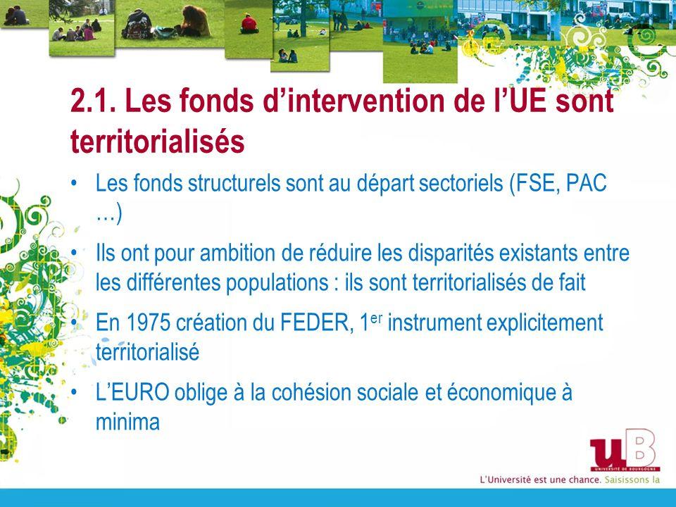 2.1. Les fonds d'intervention de l'UE sont territorialisés