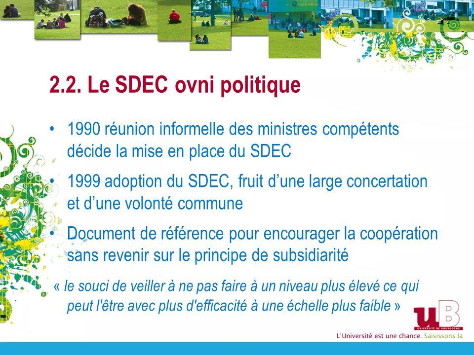 2.2. Le SDEC ovni politique 1990 réunion informelle des ministres compétents décide la mise en place du SDEC.