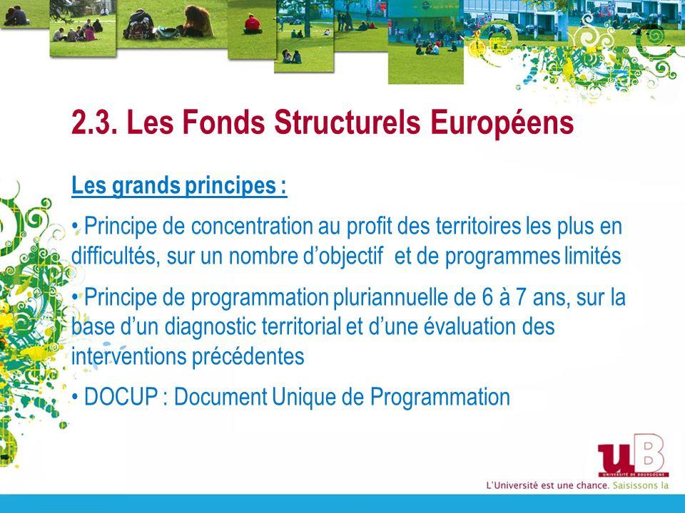 2.3. Les Fonds Structurels Européens