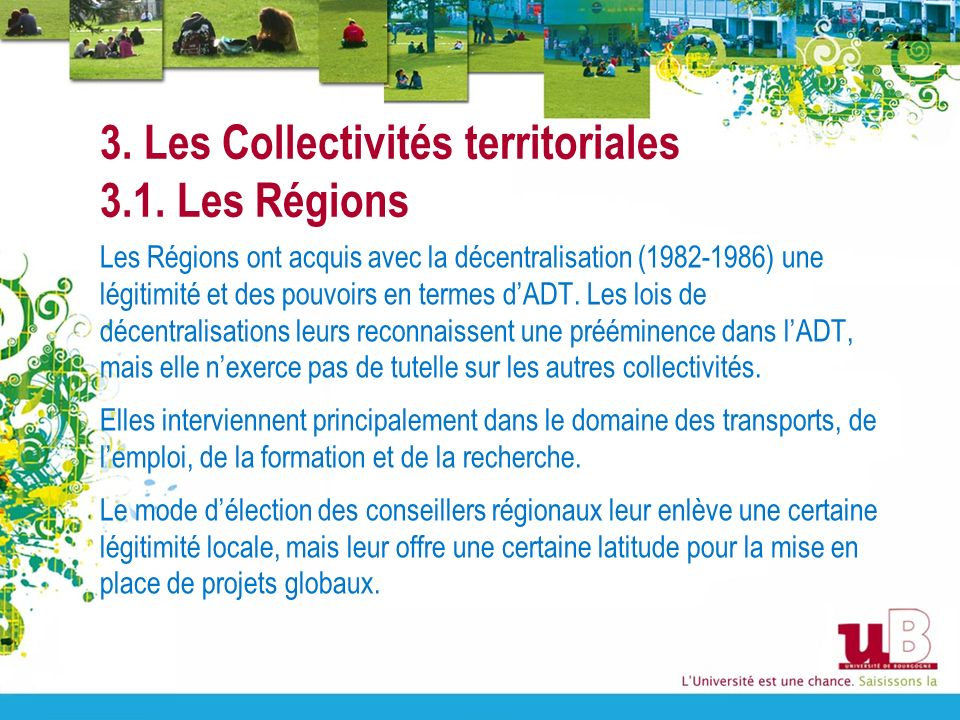 3. Les Collectivités territoriales 3.1. Les Régions