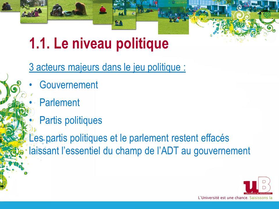 1.1. Le niveau politique 3 acteurs majeurs dans le jeu politique :