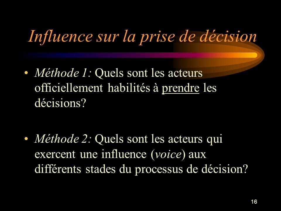 Influence sur la prise de décision