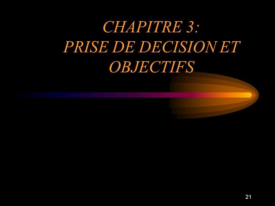CHAPITRE 3: PRISE DE DECISION ET OBJECTIFS