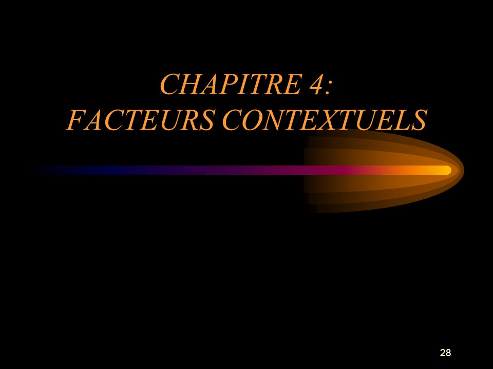CHAPITRE 4: FACTEURS CONTEXTUELS