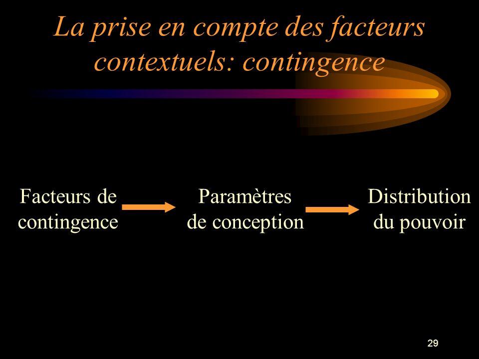 La prise en compte des facteurs contextuels: contingence