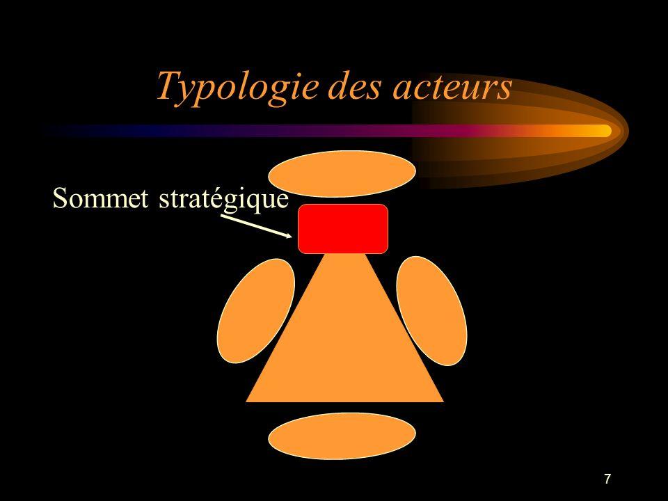 Typologie des acteurs Sommet stratégique